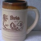VINTAGE FLORIDA SOUVENIR MUG TANKARD ~TAIWAN ~BROWN/CREAM~16 OZ