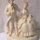 VINTAGE COLONIAL COUPLE FIGURINE ~JAPAN~ 5.5 IN ~WHITE/GOLD