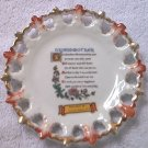 VINTAGE RIBBON PIERCED PLATE ~JAPAN~GRANDMOTHER POEM ~PINK/GOLD~NC SOUVENIR