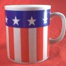 PATRIOTIC US FLAG MUG ~STARS AND STRIPES~RED WHITE BLUE