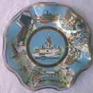 WALT DISNEY WORLD MAGIC KINGDOM SOUVENIR GLASS DISH ~BLUE/GOLD TRIM~MONORAIL+ SCENES