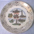 VINTAGE LOUISIANA SOUVENIR STATE PLATE ~PELICAN STATE~GOLD TRIM~JACKSON SQ +