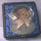 ENESCO ANGEL BLUE GLASS TRINKET BOX ~THOMAS CATHEY~MEXICO~1993