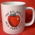 THE BIG APPLE NEW YORK CITY  SOUVENIR MUG ~ORIG STICKER W/TOWERS