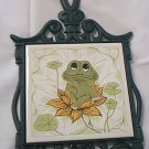 VINTAGE CAST IRON TILE TRIVET ~JAPAN~1976~SEARS~NEIL THE FROG~12 IN
