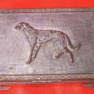 VINTAGE BRONZE METAL CIGARETTE TRINKET BOX ~JAPAN~50'S~WOLFHOUND DOG ON LID~RISING SUN