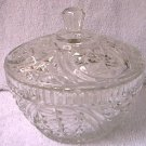 VINTAGE STARS AND ARCHES PRESSED GLASS CANDY DISH WITH LID~MINT CONDITION