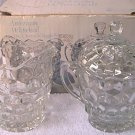 INDIANA GLASS AMERICAN WHITEHALL 3-PC SET ~SUGAR BOWL, LID, CREAMER~MINT IN ORIG BOX~CLEAR