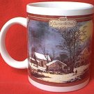 CURRIER AND IVES WINTER BARN SCENE MUG ~dishwasher and microwave safe