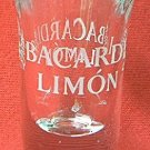 RON BACARDI LIMON TALL ETCHED ADVERTISING SHOT GLASS