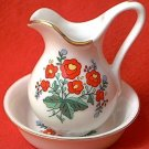 RED POPPIES BOWL AND PITCHER FIGURINES ~VINTAGE LOOK~3 IN