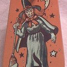 VINTAGE TIN HALLOWEEN WITCH NOISE MAKER ~US METAL TOY MFG CO~WOOD HANDLE~MAKES RACKET