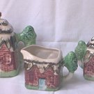VINTAGE JAPAN 5 PIECE COTTAGEWARE TEA SET~TEAPOT, CREAMER, SUGAR,2 LIDS~EXCELLENT