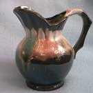 VINTAGE JAPAN REDWARE SMALL PITCHER CREAMER ~4.5 IN~BLK W/PINK FOAM
