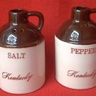 VINTAGE KENTUCKY SOUVENIR WHISKEY JUG SALT AND PEPPER SHAKERS SET ~PADEN CITY