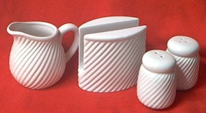 WHITE SWIRL POTTERY NAPKIN HOLDER, SHAKERS, CREAMER, SUGAR BOWL TABLE SET