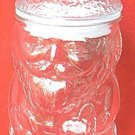 SANTA CHRISTMAS FIGURAL CLEAR GLASS NUT CANDY JAR ~8 in.
