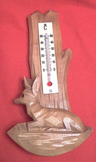 CARVED WOODEN DEER CELCIUS THERMOMETER BLACK FOREST ?