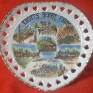 VINTAGE HEART SHAPE RIBBON PLATE KNOTTS BERRY FARM SOUVENIR~BUENA PARK CALIF