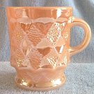 VINTAGE ANCHOR HOCKING GLASS FIRE KING KIMBERLY PEACH LUSTRE MUG