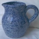 BLUE SYRUP PITCHER~HAS THE LOOK OF GRANITEWARE~SPONGED LOOK~4.5 IN