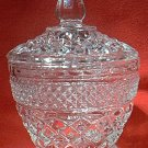 ANCHOR HOCKING FIRE KING WEXFORD SUGAR BOWL WITH LID ~CLEAR~PRETTY