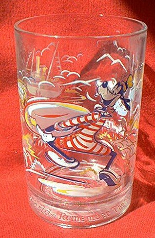 WALT DISNEY WORLD 25TH ANNIVERSARY GLASS ~1996~GOOFY~REMEMBER THE MAGIC