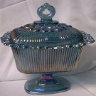 VINTAGE BLUE CARNIVAL GLASS LACE EDGE PEDESTAL COVERED CANDY DISH