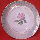 VINTAGE ELFENBEIN PORZELLAN BAVARIA GERMANY SALAD DESSERT PLATE ~PINK ROSE AND BUD~GOLD TRIM