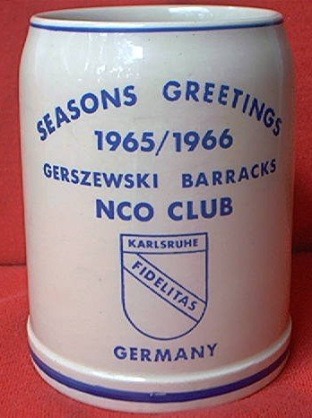 W GERMAN MUG STEIN TANKARD ~1965/1966 GERSZEWSKI BARRACKS NCO CLUB US ARMY CHRISTMAS