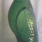 VINTAGE GREEN GLASS EAGLE FIGURAL BOTTLE DECANTER ~c 1970s