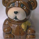 SAD EYED TEDDY BEAR HONEY JAR POT ~NEW WOOD STICK~c 1980s~CUTE