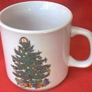 BADCOCK HOME FURNISHINGS CHRISTMAS TREE CUP MUG~ADVERTISING~3 in