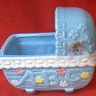 CUTE BABY BED BASSINETTE CRIB PLANTER~BLUE~ABC~GIFTWARES CO~NANCY PEW