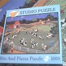 BITS AND PIECES STUDIO JIGSAW PUZZLE ~MARIE FOX~BRINGING IN THE COWS~COMPLETE~1000~FOLK ART