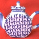 SMALLER 3.25 INCH BLUE AND WHITE TEAPOT FIGURINE--DECOR ONLY~CHINA~DARK BLUE OVER WHITE