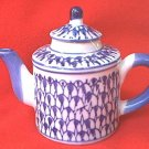 SMALL 3.50 INCH ROUND BLUE AND WHITE TEAPOT FIGURINE--DECOR ONLY~CHINA~DARK BLUE OVER WHITE