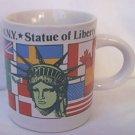 STATUE OF LIBERTY SOUVENIR SMALL MUG ~FLAGS ~LIBERTY ISLAND NY