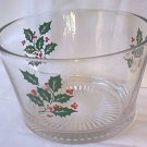 VINTAGE GLASS HOLLY CHRISTMAS BOWL ~4.25 in tall~7 in diameter