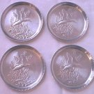 VINTAGE ALUMINUM METAL DUCK POND COASTERS~SET OF 4~1950s-60s-like new