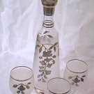 BOHEMIA GLASS WINE SET~DECANTER~STOPPER~3 GLASSES~FROSTED~SILVER/GOLD~CZECHOSLOVAKIA