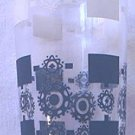 FEDERAL GLASS CO SWANKY SWIG GLASS ~CLEAR/WHITE/BLUE