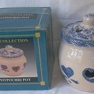 BLUE AND WHITE SPONGED HEART DESIGN POTPOURRI JAR ~IN ORIG BOX~C 1980'S