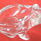 CRYSTAL GLASS FROG CANDY NUT DISH -CANDLEHOLDER-CLEAR-HEAVY~CHARMING