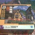 M BRADLEY BIG BEN JIGSAW PUZZLE ~ALSACE FRANCE~1000 COMPLETE~HOUSES~FLOWERS