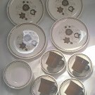 ROYAL CHINA JEANNETTE NUTMEG 16-PIECE SET ~4 EA: PLATES, CUPS, SAUCERS,BOWLS