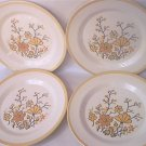 4 VINTAGE HOMER LAUGHLIN DINNER PLATES ~10 IN~YELLOW/ORANGE FLOWERS~C1970s