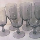 Vintage DUZ DETERGENT Smoky Gray WINE GLASS Set of 6 Elegant Promotional MID CENTURY