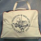 1968 HEMISFAIR SAN ANTONIO TEXAS WORLDS FAIR VINYL ZIPPERED OVERNIGHT BAG