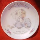 ENESCO PRECIOUS MOMENTS WEDDING PLATE ~WISHING YOU ROADS OF HAPPINESS~1989~4 IN